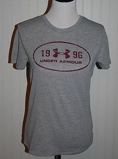 Under Armour Women's Small Gray Heat Gear Short Sleeve Athletic Shirt  #UnderArmour #ShirtsTops