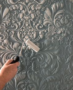 Discover thousands of images about Paintable wallpaper - creating dimension. Plaster Art, Plaster Walls, Plaster Crafts, Paintable Textured Wallpaper, Embossed Wallpaper, White Wallpaper, Deco Addict, Pattern Wallpaper, Furniture Makeover