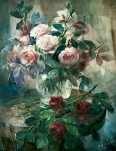 Frans MORTELMANS (1865-1936) Nature morte au vase de roses Aquarelle ...