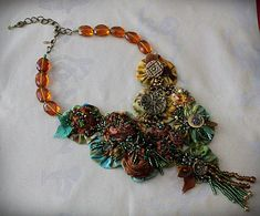 DIANA Goddess of the Forest Wearable Art Statement Necklace Beaded Textile
