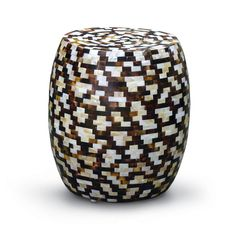 SHELL TILE ROUND STOOL - 17in Dia 18in H