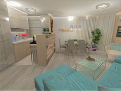 Apartment living room interior design, Nappali látványterv, Amerikai konyha, American kitchen