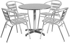 Flash Furniture TLH-ALUM-32RD-017BCHR4-GG 31.5'' Round Aluminum Indoor-Outdoor Table with 4 Slat Back Chairs