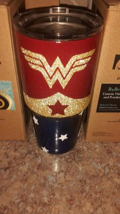 30 oz. Yeti Travel Tumbler with Red & Blue Powder-coating | Wonder Woman