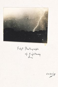 First Photograph of Lighning by William N. Jennings