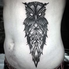 Geometric Owl Stomach Tattoo For Males On Side Of Body tatuajes | Spanish tatuajes |tatuajes para mujeres | tatuajes para hombres | diseños de tatuajes http://amzn.to/28PQlav