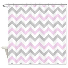Pink and Grey Chevron Shower Curtain on CafePress.com