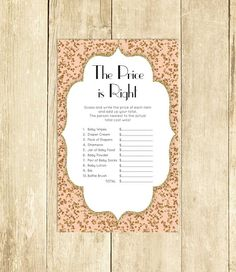Pink and Gold Baby Shower Price is Right Game Printable Baby Shower Game Instant Download Gold Glitter The Price is Right Game 0041A-CP by TppCardS #tppcards #printable #invitations