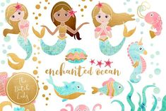 Enchanted Mermaid Ocean Clipart Set (Graphic) by daphnepopuliers · Creative Fabrica Beach Clipart, Mermaid Clipart, Seahorse Image, Splash Images, Graphic Design Company, Clipart Images, Design Bundles, Background Images