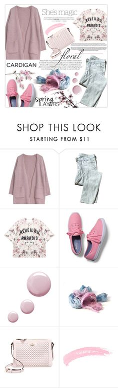 """""""Cute cardigan"""" by tanjakr ❤ liked on Polyvore featuring Goroke, 7 For All Mankind, Nicole, Momewear, Keds, Topshop and Kate Spade"""