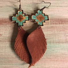 Leather navajo earrings