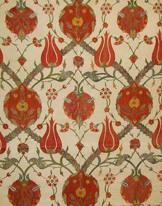Suzanis are very colorful, elaborately embroidered silk wall hangings or bed coverings that originated in central Asia, primarily what is now Uzbekistan. Textile Patterns, Textile Design, Floral Patterns, Turkish Pattern, Stoff Design, Indian Folk Art, Morris, Weaving Textiles, Hand Art