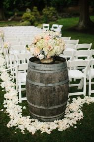 Wedding ceremony aisle flowers on wine barrel | DeLille Cellars Wedding in Woodinville | Lucid Captures Photography | Wedding Planning & Design by Perfectly Posh Events, Woodinville wedding planner