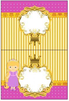 Cartão Agradecimento de Mesa Princesa Loira Afro, Princess Rapunzel, Borders And Frames, Lisa Simpson, Fictional Characters, Party Kit, Kids Part, Sailor, Blond