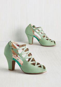 1940s Womens Shoe Styles Get in the Lattice Word Heel $164.99 AT vintagedancer.com