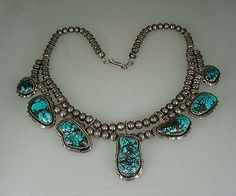 VINTAGE-Pauline-Claw-NAVAJO-STERLING-SILVER-7-EXOTIC-TURQUOISE-NECKLACE