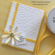 Wrapped like a birthday present, this card features the new 1/4″ Double-Stitched Ribbon in Daffodil Delight. It also comes in Blushing Bride, a beautiful shade of pink, and Cherry Cobbler, a favorite red for holiday cards. One side has the crisscross stitching, and the reverse side has two rows of straight stitching. Tear Tape, pictured below, was …