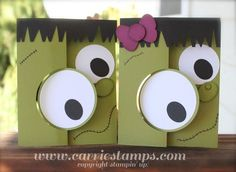 Frankenstein cards made with Stampin' Up's Thinlits cards--the big eye circle swivels so the back lies flat with the inside of the card and has another design on it. Directions: http://www.carriestamps.com/