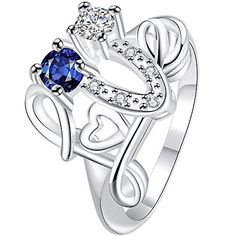 """* Penny Deals * - BOHG Jewelry Womens Sterling Silver Plated Blue Cubic Zirconia CZ """"Love"""" Promise Ring Wedding Band Size 8 925 -- You can find more details by visiting the image link."""