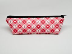 Red and White Checkered Pencil Case - Gingham Zipper Pouch - Back to School…