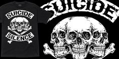 """Suicide Silence - Crossbones"" t-shirt design by PitchGrim"