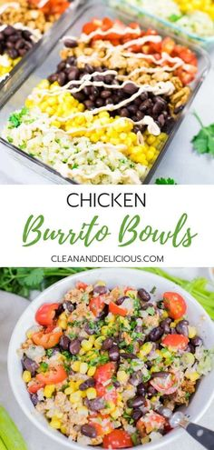 This Chicken Burrito Bowl recipe is an easy and healthy way to meal prep. Made with ground chicken cilantro lime cauliflower rice black beans corn and tomatoes they make a great lunch or a simple dinner for busy weekdays. Watch the video for instructions! Healthy Dinner Recipes For Weight Loss, Good Healthy Recipes, Clean Recipes, Dinner Healthy, Healthy Food Prep, Crockpot Recipes, Healthy Recipes For Lunch, Healthy Ground Chicken Recipes, Healthy Recipes For Dinner