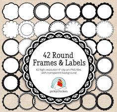 Circle frames clip art - 42 black & white digital borders - scalloped labels…
