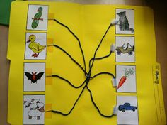 Match the rhyming words with yarn! Via:Rockabye Butterfly: Poetry and Rhyming Words Preschool Literacy, Montessori Activities, Early Literacy, Science Activities, Literacy Centers, Kindergarten Reading, Interactive Learning, Kids Learning, File Folder Games