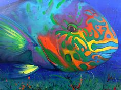 RAINBOW PARROT FISH - painting by Amanda Reichelt-Brushett Location: These fish are found in abundance in shallow reefs around the world, including the Red Sea, Indian Ocean and the Pacific. Underwater Creatures, Underwater Life, Ocean Creatures, Beneath The Sea, Under The Sea, Colorful Fish, Tropical Fish, Colorful Animals, Beautiful Creatures
