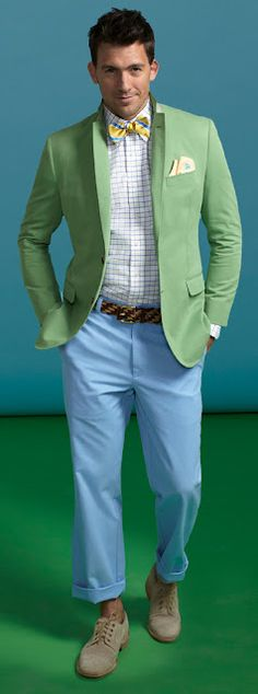 As the weather gets warmer, the colors to get brighter! (Note: Cuffed pants? Foolish.)