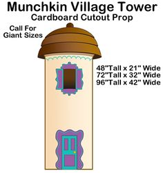 """<div align=""""center""""><strong> <BR> <span style=""""COLOR: #000080; FONT-SIZE: 14pt""""> Munchkin Village Tower - Wizard of Oz Cardboard Cutout Standup Prop</span></strong></div> <div> </div> <div> <BR><BR> This Munchkin Village Tower - Wizard of Oz Cardboard Cutout Standup Prop is great for your Wizard of Oz/Emerald City, fantasy or%2..."""
