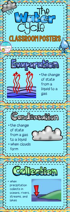 These water cycle posters outline the most important parts of the water cycle, including the 3 states of water. You can print and laminate these posters to display around your classroom or print them out to put in your student's notebooks! Third Grade Science, Middle School Science, Elementary Science, Science Classroom, Science Lessons, Lessons For Kids, Teaching Science, Science For Kids, Science And Nature