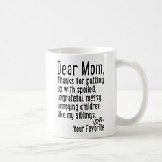 Handmade – Dear Mom Siblings Version Coffee Mug – presents for boyfriend anniversary Diy Gifts For Mom, Diy Mothers Day Gifts, Mothers Day Cards, Grandma Gifts, Mother Gifts, Funny Gifts For Mom, Gifts Fir Mom, Best Mothers Day Presents, Mom Cards