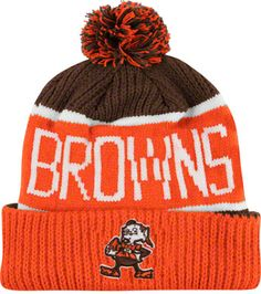 02a088d13be Cleveland Browns Calgary Pom Top Cuff Knit Hat Monster Board
