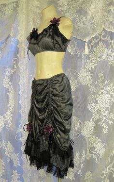 Gunmetal Hand-Dyed Tribaret Two Piece Set by getjuliet on Etsy