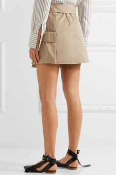 Monse - Cotton-canvas Wrap Mini Skirt - Mushroom - US0