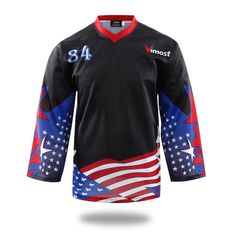 088df0c4bf9 Sublimated America Stars Ice Hockey Jersey Hockey Socks