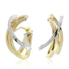 Toscano Two-Tone Contemporary Hoop Earrings Bangles, Bracelets, Or Antique, Jewelry Box, Jewellery, Italian Style, Vintage Looks, White Gold, Hoop Earrings