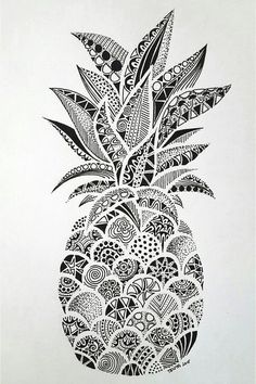 Drawings – Zentangle art – Doodle art – Pineapple art – Doodle drawings – Art drawings – The p Doodle Art Drawing, Zentangle Drawings, Art Drawings Sketches, Drawing Drawing, Doodles Zentangles, Drawing Tips, Easy Drawings, Zentangle Art Ideas, Simple Doodles Drawings