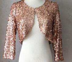 Rose gold hued Sequined Bolero jacket