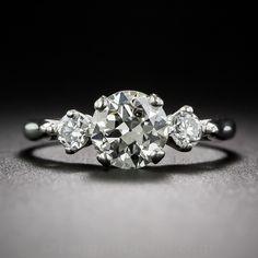 1.01 Carat European-Cut Platinum Diamond Engagement Ring