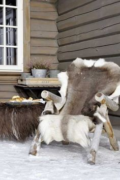 """Well, I already have a reindeer fur.""""Adirondack chair with reindeer fur. would be so cozy during the winter"""" Ski Chalet, Chalet Chic, Chalet Style, Winter Cabin, Cozy Cabin, Winter Porch, Winter Balcony, Cosy Winter, Terrace Decor"""