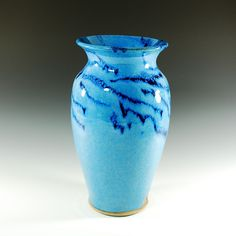 Wheel Thrown Vases   Tall vase in Blue Wave glazewheel thrown by CarolBroadleyPottery