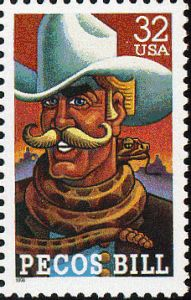 The stories were based on oral histories told by cowboys during the westward expansion Postage Stamp Design, Postage Stamps, Pecos Bill, Office Stamps, Real Movies, Commemorative Stamps, Going Postal, Oral History, Texas History