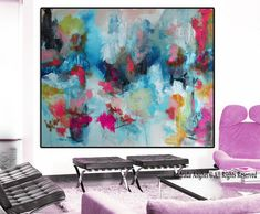 Original abstract art giclée Print of painting, pink and blue painting, modern painting, blue large print, huge wall art, large canvas print