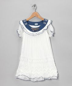 $9.99 marked down from $40! White & Denim Swing Dress - Girls #girls #white #denim #dress #boho #sale  #zulily #zulilyfinds