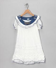 $9.99 marked down from $40! White & Denim Swing Dress - Girls #girls #white #denim #dress #boho #sale  #zulily #zulilyfinds