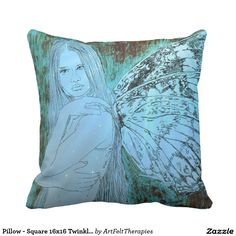 Pillow - Square 16x16 Twinkle Fairy Blue Grunge
