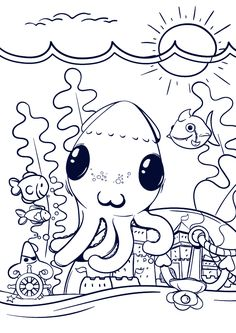 Learn How to Draw an Octopus – Cartoon Scene Step by Step Tutorial