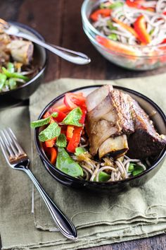 Vietnamese-Style Short Ribs with Soba Noodle Salad | via Katie at the Kitchen Door